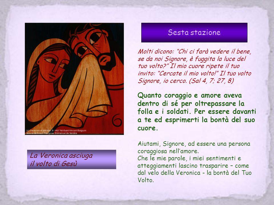 Quinta stazione Il Cireneo aiuta Gesù a portare la croce Mentre lo conducevano via, fermarono, un certo Simone di Cirene, che tornava dai campi, E gli