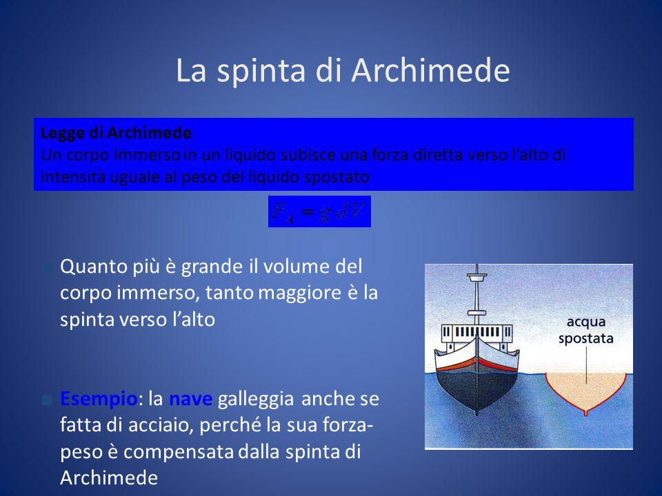 La spinta di Archimede ■ Quanto più è grande il volume del corpo immerso, tanto maggiore è la spinta verso l'alto ■ Esempio: la nave galleggia anche s