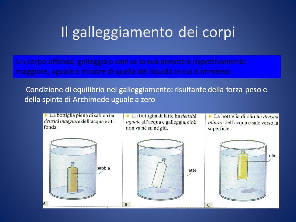 Il galleggiamento dei corpi Un corpo affonda, galleggia o sale se la sua densità è rispettivamente maggiore, uguale o minore di quella del liquido in