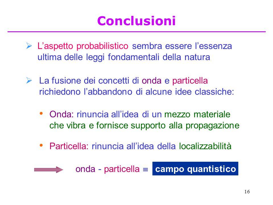 16  L'aspetto probabilistico sembra essere l'essenza ultima delle leggi fondamentali della natura  La fusione dei concetti di onda e particella rich