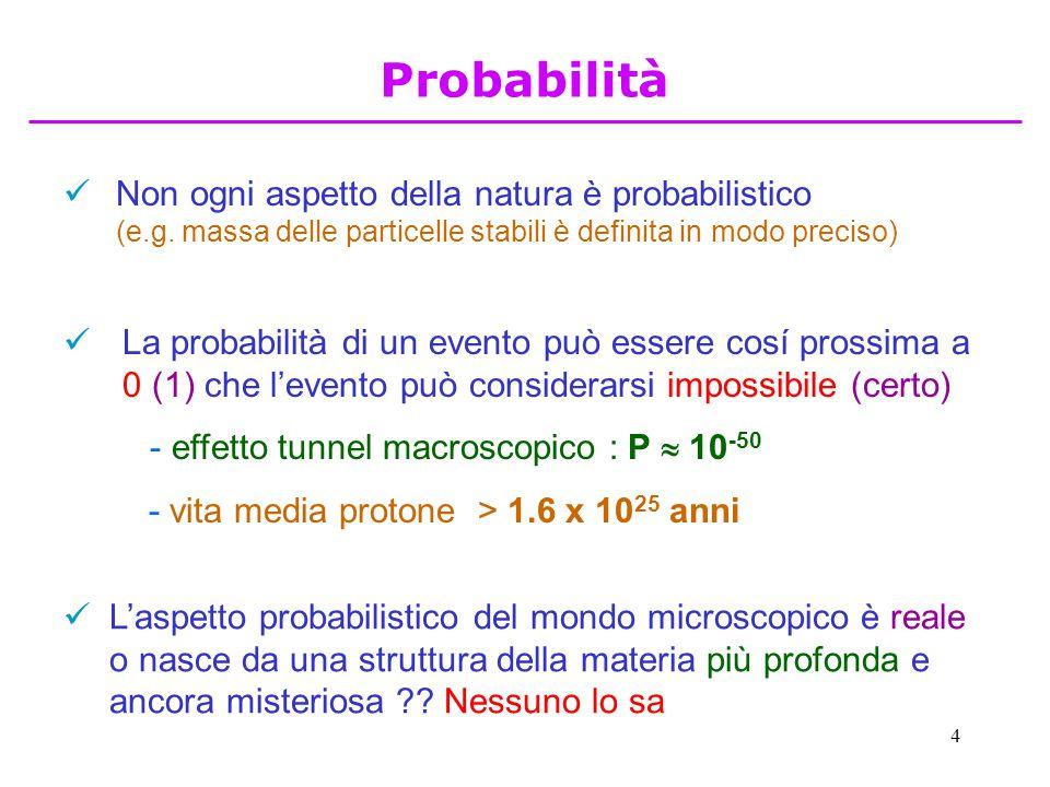 4 Non ogni aspetto della natura è probabilistico (e.g. massa delle particelle stabili è definita in modo preciso) La probabilità di un evento può esse