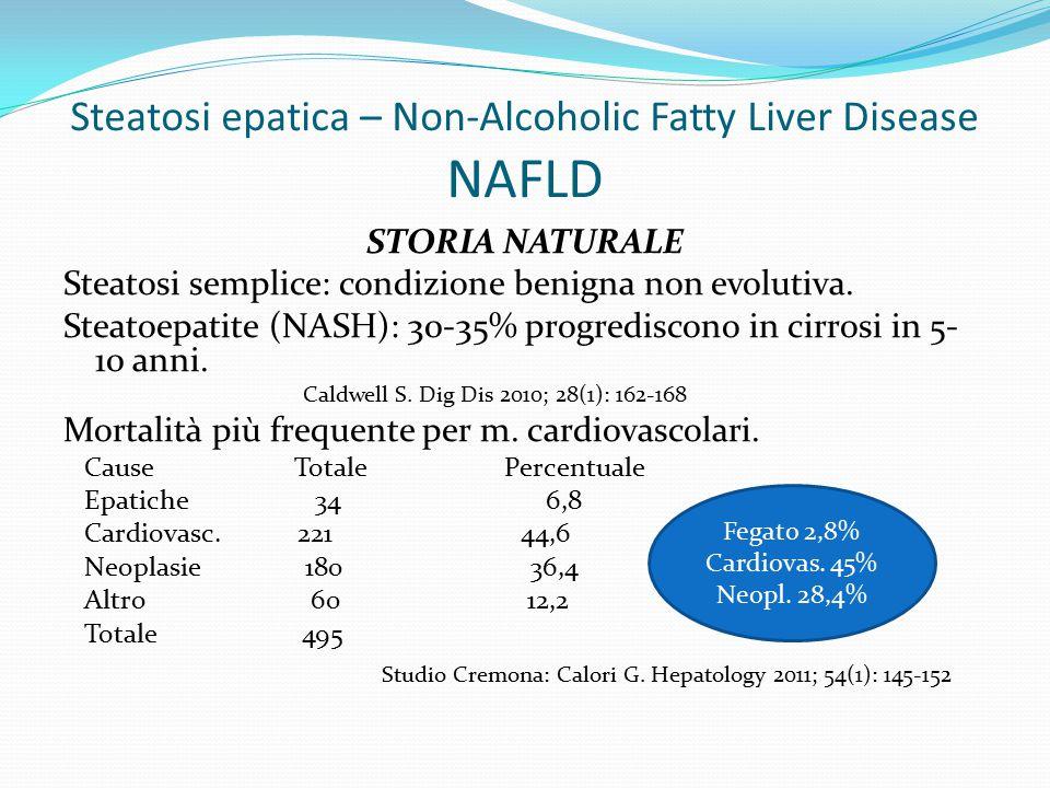 Steatosi epatica – Non-Alcoholic Fatty Liver Disease NAFLD STORIA NATURALE Steatosi semplice: condizione benigna non evolutiva.