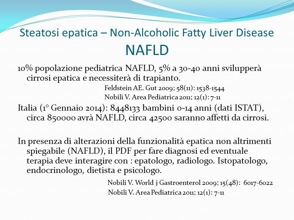 Steatosi epatica – Non-Alcoholic Fatty Liver Disease NAFLD 10% popolazione pediatrica NAFLD, 5% a 30-40 anni svilupperà cirrosi epatica e necessiterà di trapianto.
