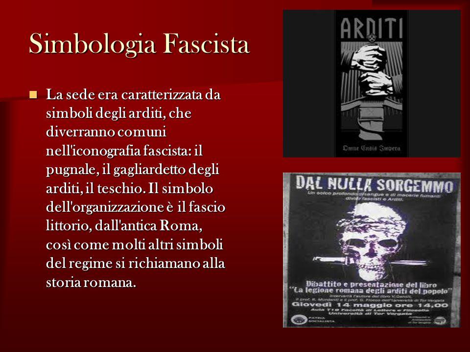 Simbologia Fascista La sede era caratterizzata da simboli degli arditi, che diverranno comuni nell iconografia fascista: il pugnale, il gagliardetto degli arditi, il teschio.