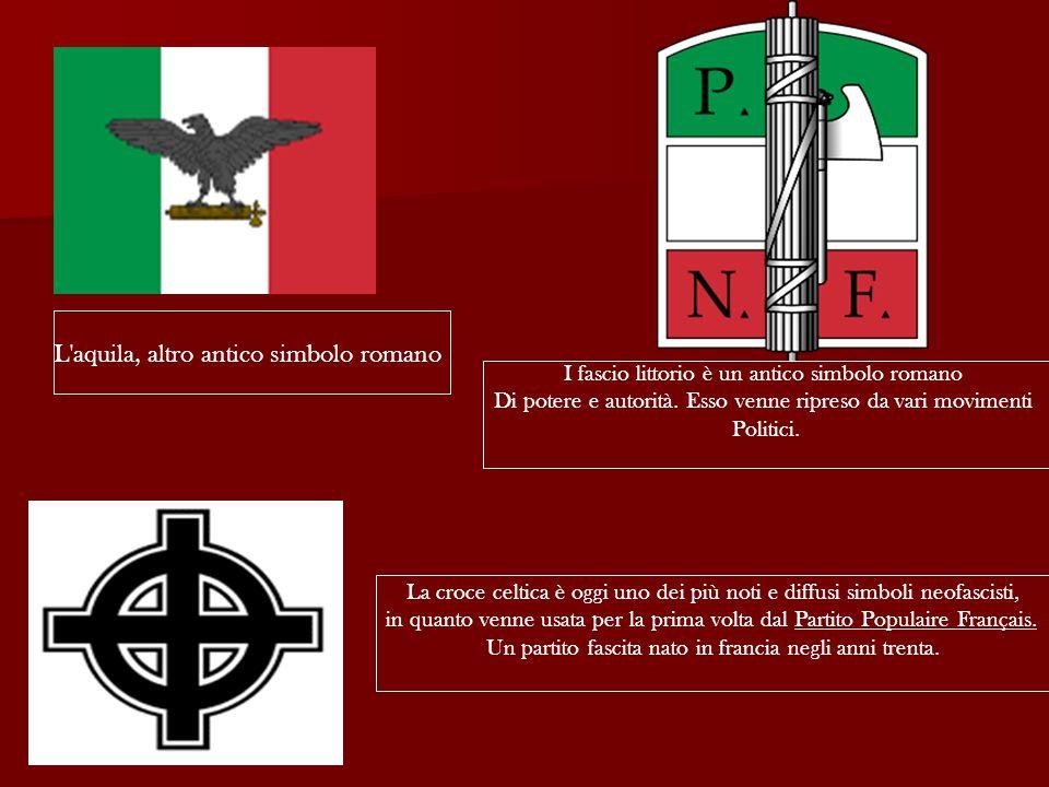 L aquila, altro antico simbolo romano I fascio littorio è un antico simbolo romano Di potere e autorità.