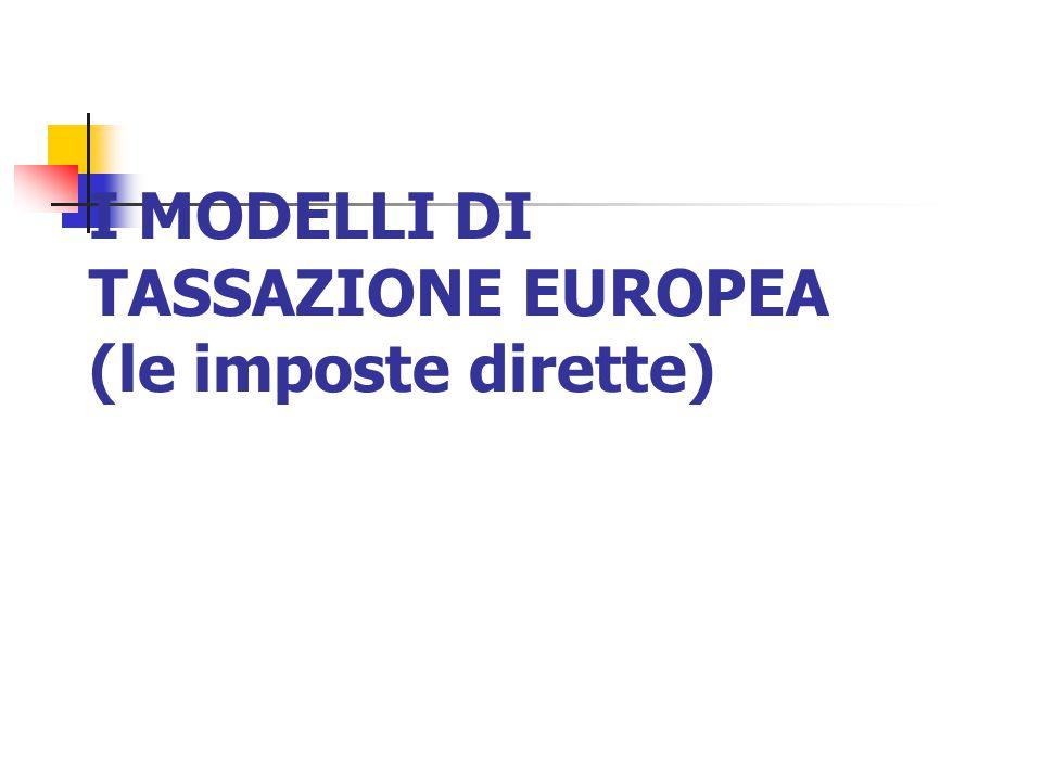 I MODELLI DI TASSAZIONE EUROPEA (le imposte dirette)