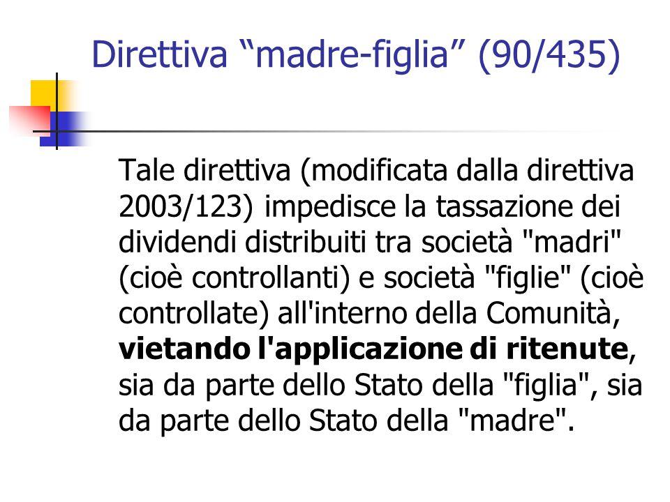 """Direttiva """"madre-figlia"""" (90/435) Tale direttiva (modificata dalla direttiva 2003/123) impedisce la tassazione dei dividendi distribuiti tra società"""