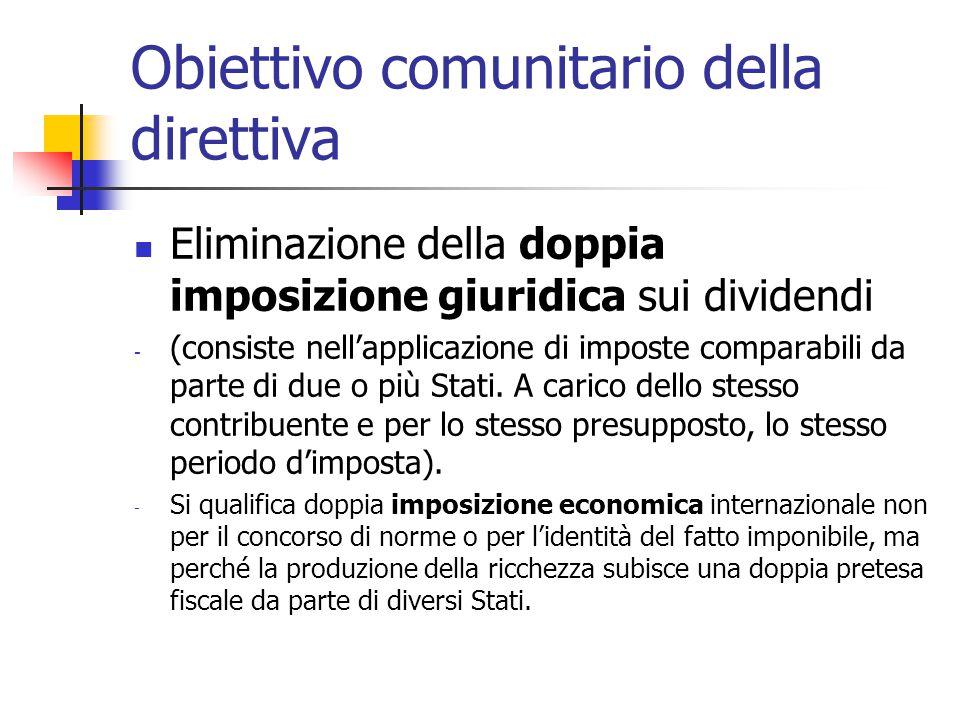Obiettivo comunitario della direttiva Eliminazione della doppia imposizione giuridica sui dividendi - (consiste nell'applicazione di imposte comparabi