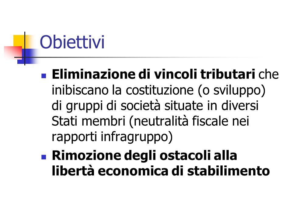Obiettivi Eliminazione di vincoli tributari che inibiscano la costituzione (o sviluppo) di gruppi di società situate in diversi Stati membri (neutrali