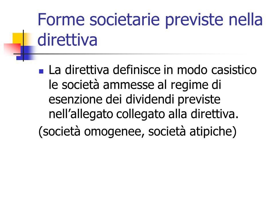 Forme societarie previste nella direttiva La direttiva definisce in modo casistico le società ammesse al regime di esenzione dei dividendi previste ne