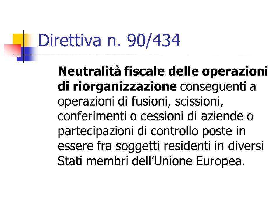 Direttiva n. 90/434 Neutralità fiscale delle operazioni di riorganizzazione conseguenti a operazioni di fusioni, scissioni, conferimenti o cessioni di