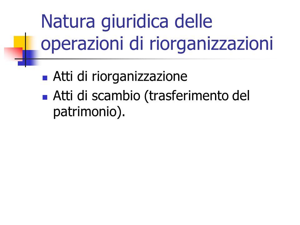 Natura giuridica delle operazioni di riorganizzazioni Atti di riorganizzazione Atti di scambio (trasferimento del patrimonio).