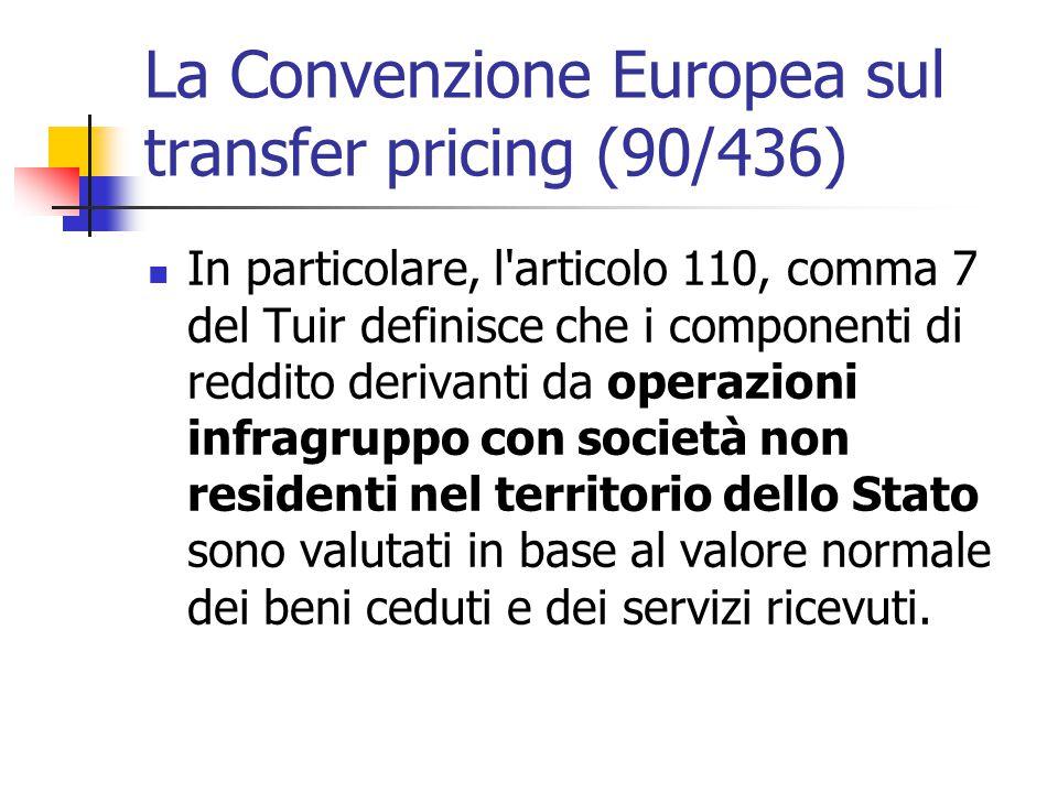 La Convenzione Europea sul transfer pricing (90/436) In particolare, l'articolo 110, comma 7 del Tuir definisce che i componenti di reddito derivanti
