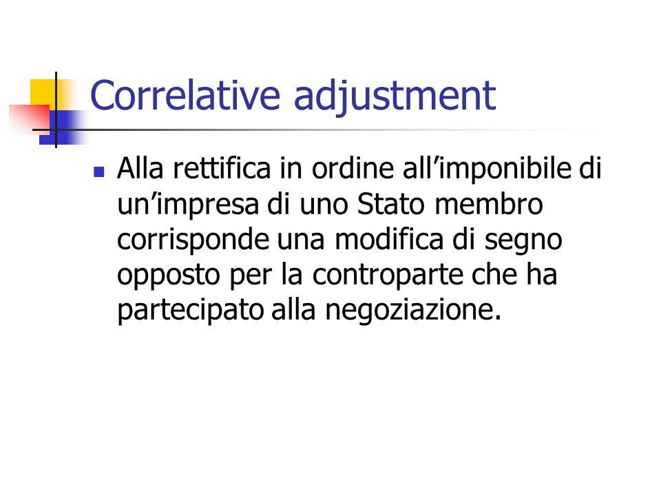 Correlative adjustment Alla rettifica in ordine all'imponibile di un'impresa di uno Stato membro corrisponde una modifica di segno opposto per la cont