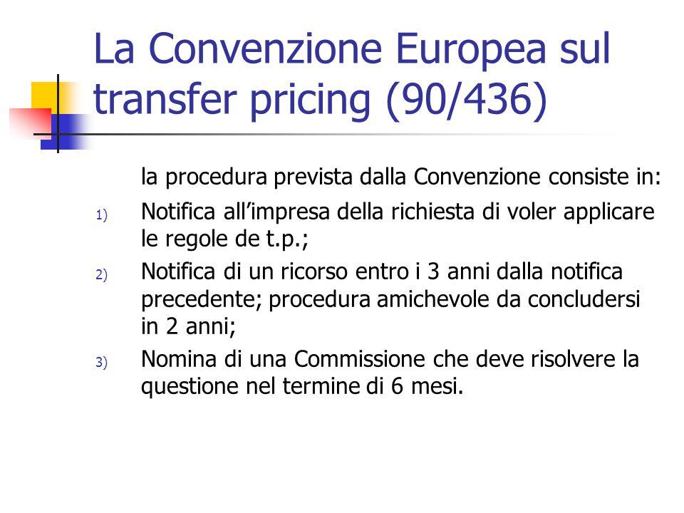 La Convenzione Europea sul transfer pricing (90/436) la procedura prevista dalla Convenzione consiste in: 1) Notifica all'impresa della richiesta di v
