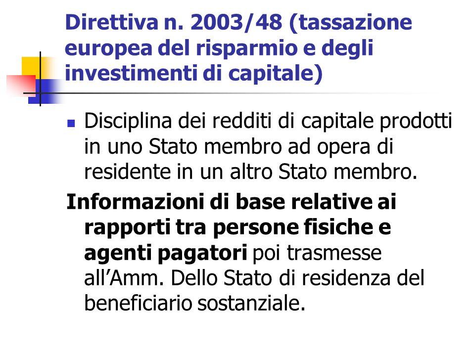 Direttiva n. 2003/48 (tassazione europea del risparmio e degli investimenti di capitale) Disciplina dei redditi di capitale prodotti in uno Stato memb