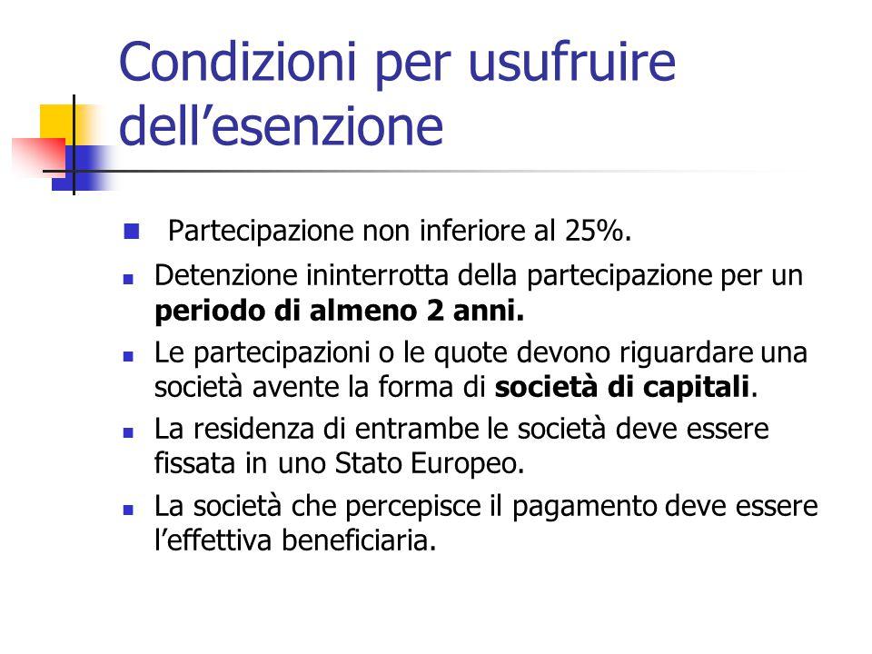 Condizioni per usufruire dell'esenzione Partecipazione non inferiore al 25%. Detenzione ininterrotta della partecipazione per un periodo di almeno 2 a