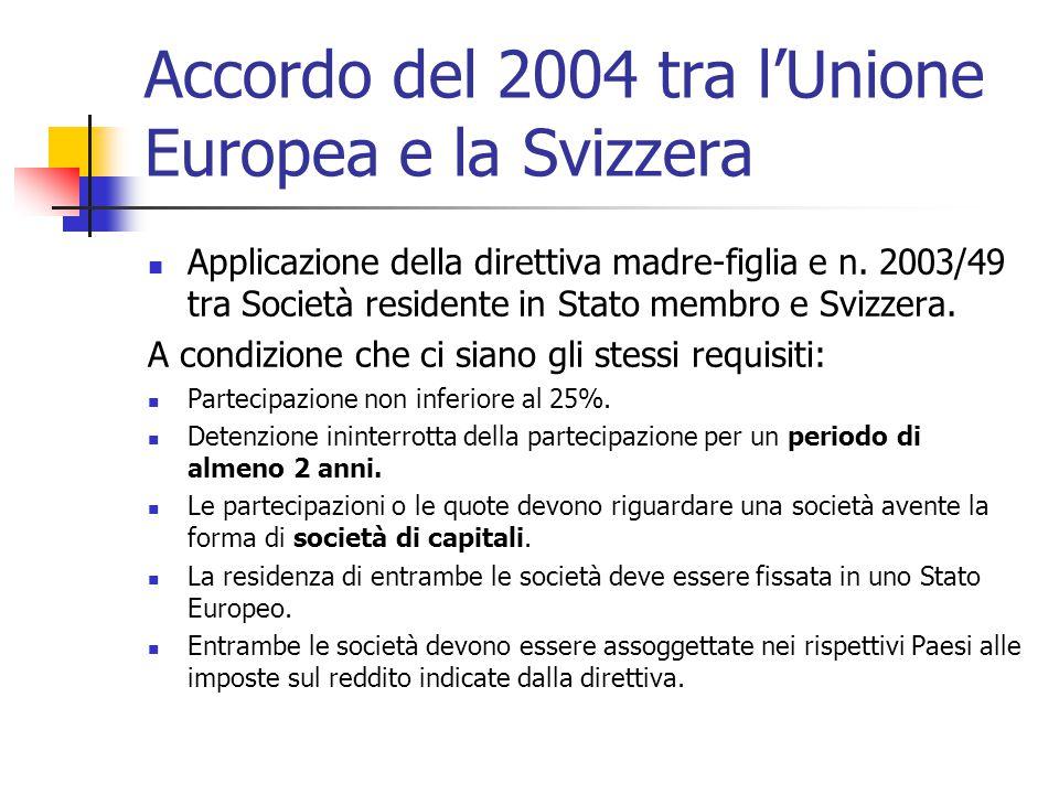 Accordo del 2004 tra l'Unione Europea e la Svizzera Applicazione della direttiva madre-figlia e n. 2003/49 tra Società residente in Stato membro e Svi
