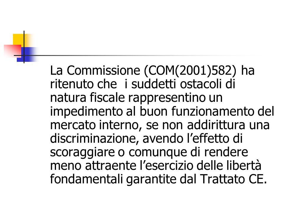 La Commissione (COM(2001)582) ha ritenuto che i suddetti ostacoli di natura fiscale rappresentino un impedimento al buon funzionamento del mercato int