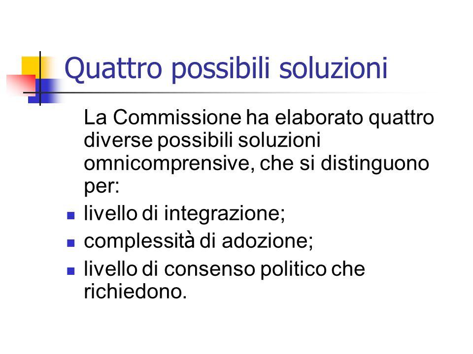 Quattro possibili soluzioni La Commissione ha elaborato quattro diverse possibili soluzioni omnicomprensive, che si distinguono per: livello di integr