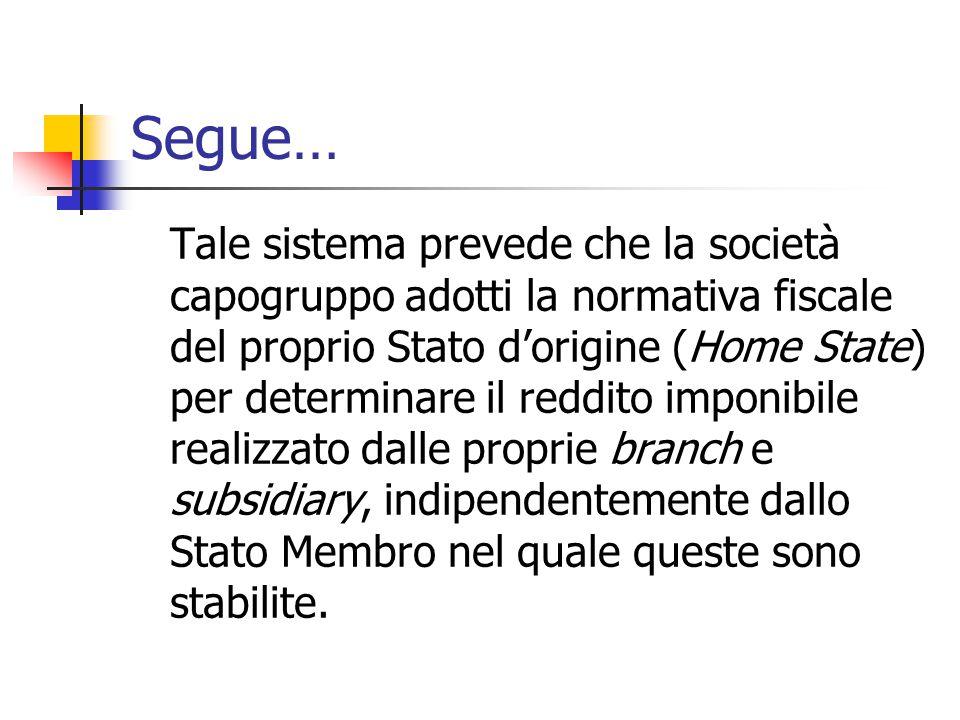 Segue… Tale sistema prevede che la società capogruppo adotti la normativa fiscale del proprio Stato d'origine (Home State) per determinare il reddito