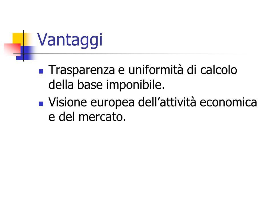 Vantaggi Trasparenza e uniformità di calcolo della base imponibile. Visione europea dell'attività economica e del mercato.