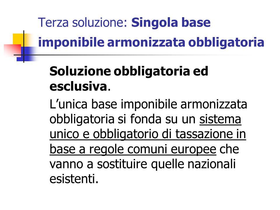 Terza soluzione: Singola base imponibile armonizzata obbligatoria Soluzione obbligatoria ed esclusiva. L'unica base imponibile armonizzata obbligatori