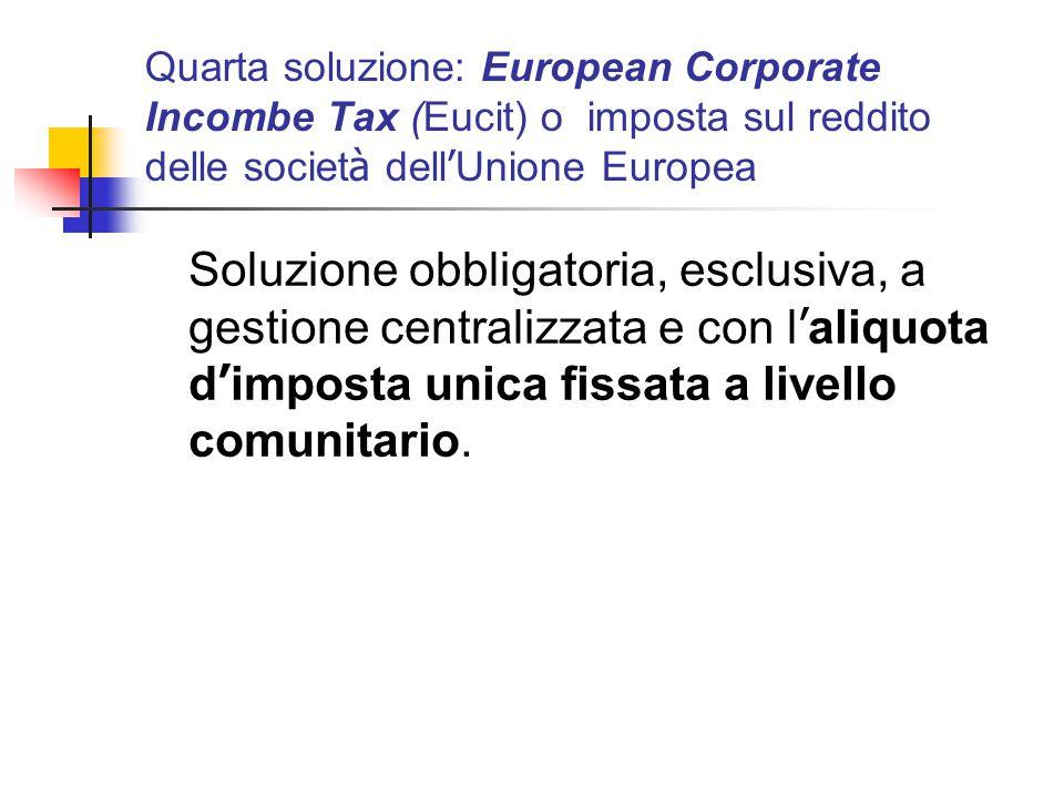 Quarta soluzione: European Corporate Incombe Tax (Eucit) o imposta sul reddito delle societ à dell ' Unione Europea Soluzione obbligatoria, esclusiva,