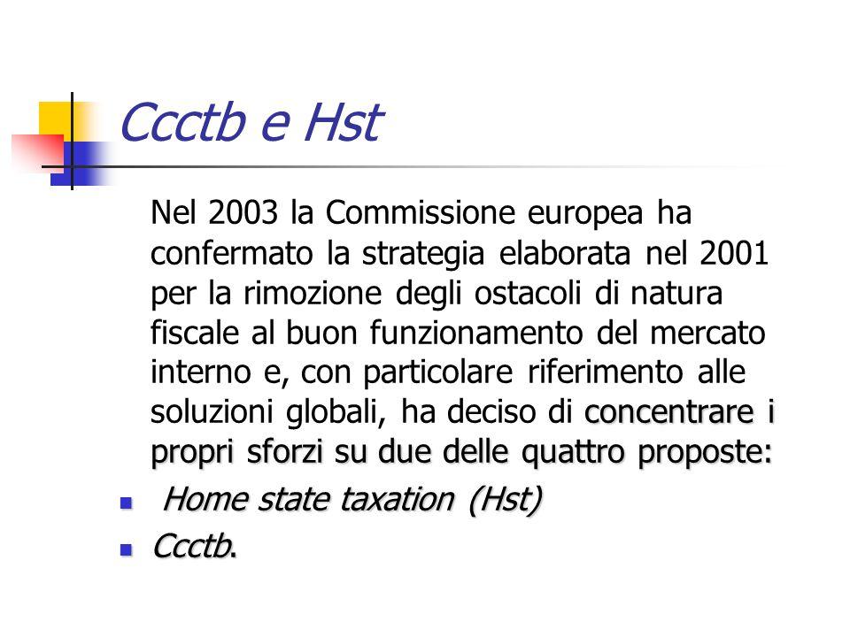 Ccctb e Hst concentrare i propri sforzi su due delle quattro proposte: Nel 2003 la Commissione europea ha confermato la strategia elaborata nel 2001 p