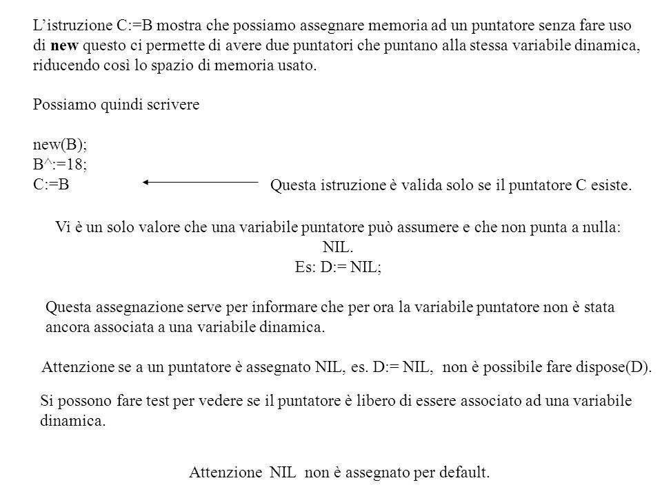 Vi è un solo valore che una variabile puntatore può assumere e che non punta a nulla: NIL.