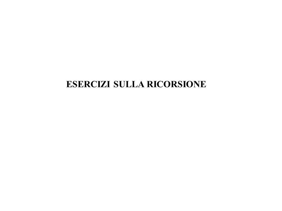 ESERCIZI SULLA RICORSIONE