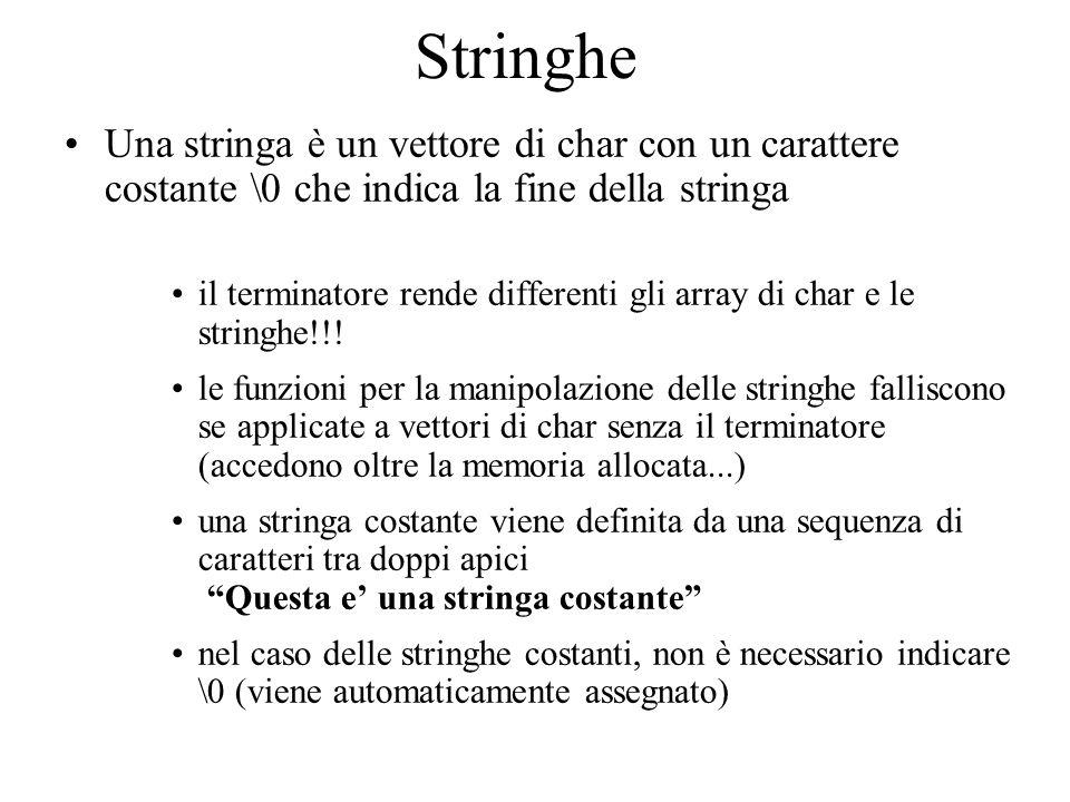 Stringhe Una stringa è un vettore di char con un carattere costante \0 che indica la fine della stringa il terminatore rende differenti gli array di c