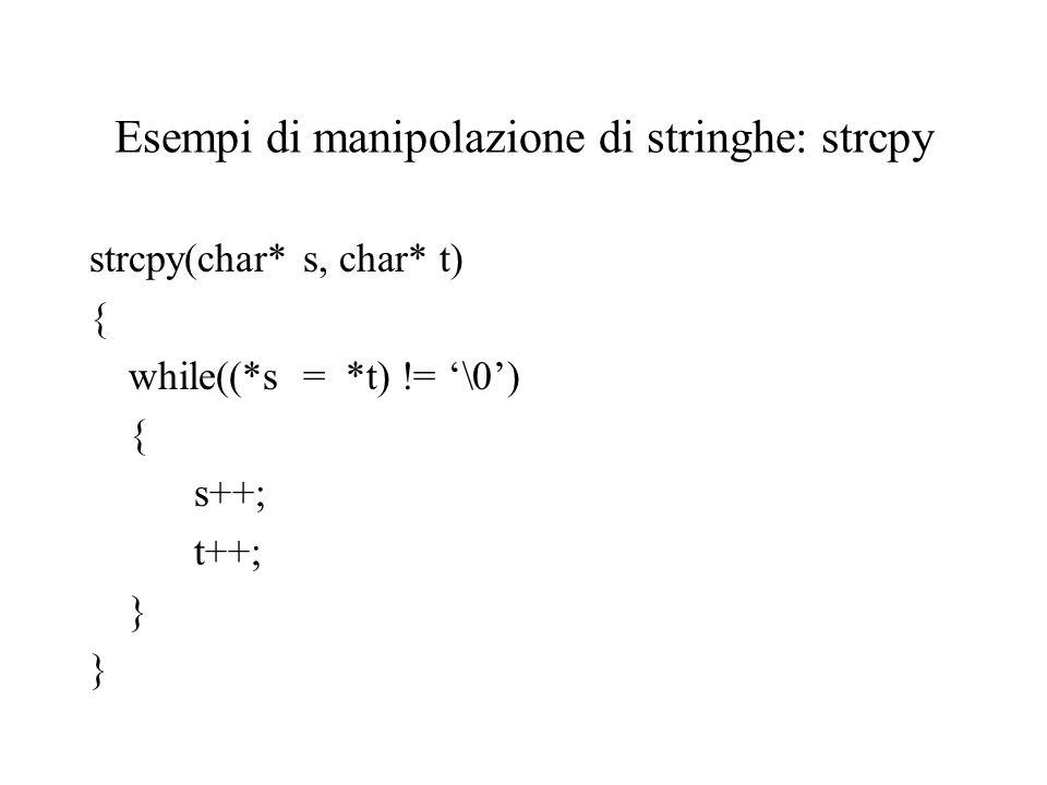 Esempi di manipolazione di stringhe: strcpy strcpy(char* s, char* t) { while((*s = *t) != '\0') { s++; t++; }