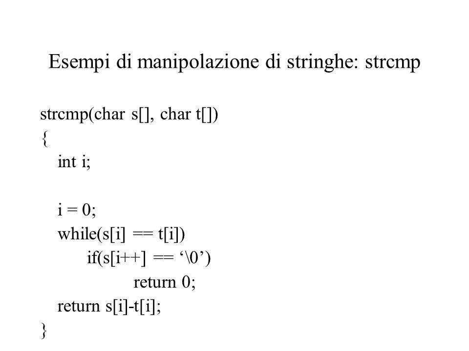 Esempi di manipolazione di stringhe: strcmp strcmp(char s[], char t[]) { int i; i = 0; while(s[i] == t[i]) if(s[i++] == '\0') return 0; return s[i]-t[