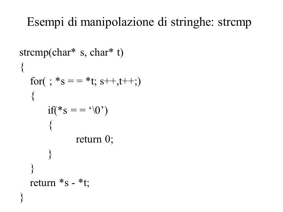 Esempi di manipolazione di stringhe: strcmp strcmp(char* s, char* t) { for( ; *s = = *t; s++,t++;) { if(*s = = '\0') { return 0; } return *s - *t; }