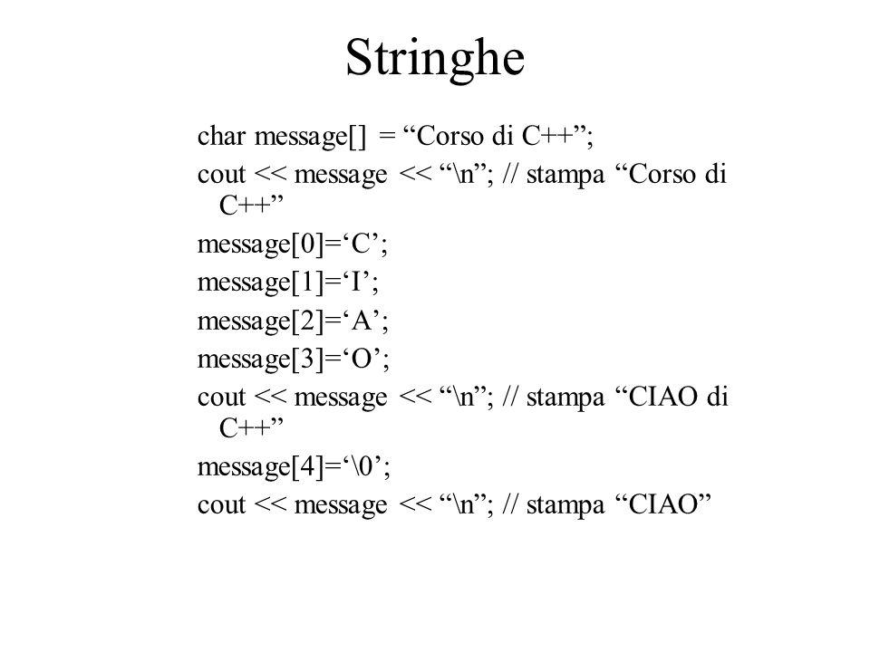 "Stringhe char message[] = ""Corso di C++""; cout << message << ""\n""; // stampa ""Corso di C++"" message[0]='C'; message[1]='I'; message[2]='A'; message[3]"