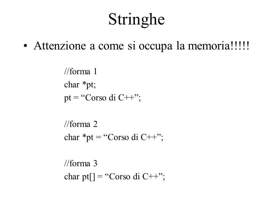 """Stringhe Attenzione a come si occupa la memoria!!!!! //forma 1 char *pt; pt = """"Corso di C++""""; //forma 2 char *pt = """"Corso di C++""""; //forma 3 char pt[]"""