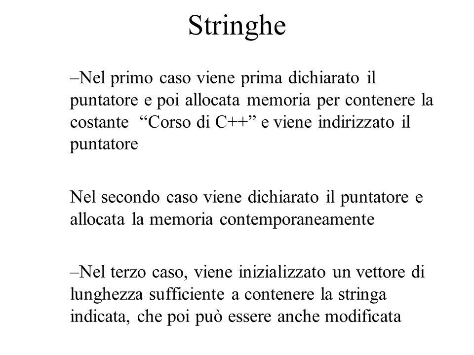 Stringhe Attenzione a char *string1; char *string2; string1 = Corso di C++ ; string2= C++ ; il compilatore potrebbe far puntare string2 ad un indirizzo della memoria puntata da string1