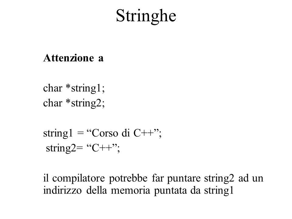 """Stringhe Attenzione a char *string1; char *string2; string1 = """"Corso di C++""""; string2= """"C++""""; il compilatore potrebbe far puntare string2 ad un indiri"""