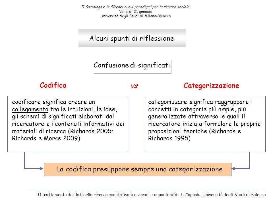 Il Sociologo e le Sirene: nuovi paradigmi per la ricerca sociale Venerdì 21 gennaio Università degli Studi di Milano-Bicocca Alcuni spunti di riflessi