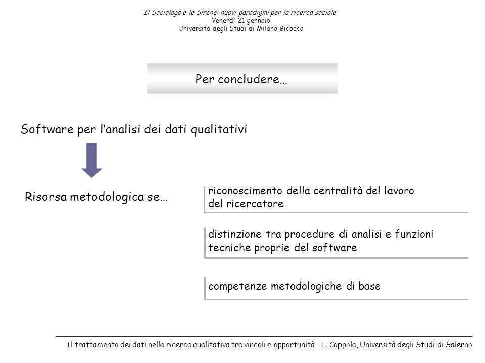 Il Sociologo e le Sirene: nuovi paradigmi per la ricerca sociale Venerdì 21 gennaio Università degli Studi di Milano-Bicocca Per concludere… Software