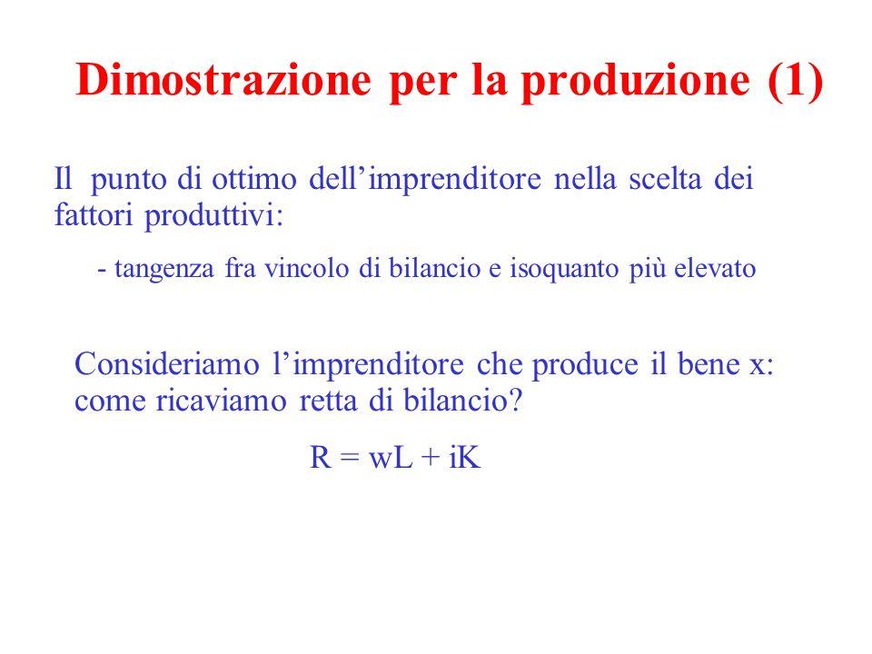 Dimostrazione per la produzione (1) Il punto di ottimo dell'imprenditore nella scelta dei fattori produttivi: - tangenza fra vincolo di bilancio e isoquanto più elevato Consideriamo l'imprenditore che produce il bene x: come ricaviamo retta di bilancio.
