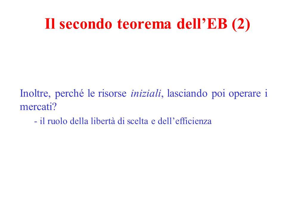 Il secondo teorema dell'EB (2) Inoltre, perché le risorse iniziali, lasciando poi operare i mercati.