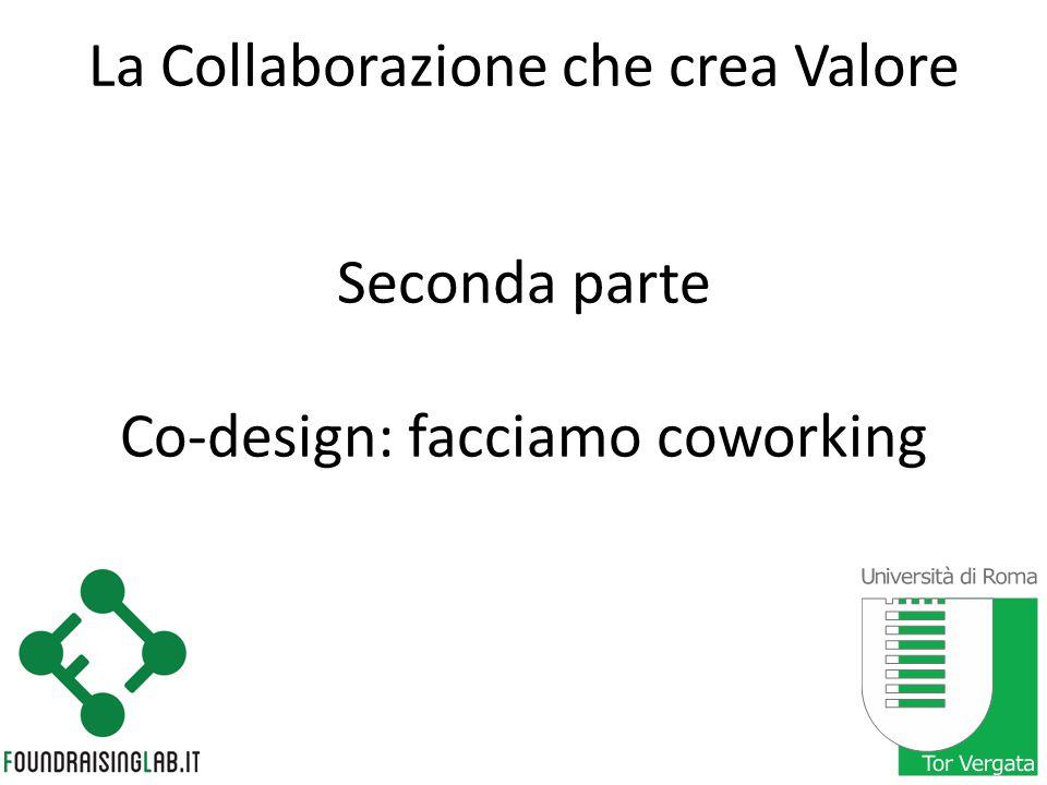 La Collaborazione che crea Valore Seconda parte Co-design: facciamo coworking