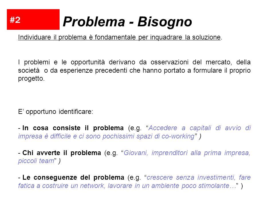 #2 Problema - Bisogno Individuare il problema è fondamentale per inquadrare la soluzione. I problemi e le opportunità derivano da osservazioni del mer