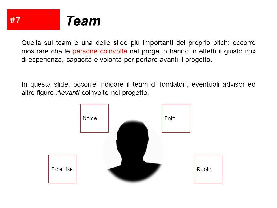 #7 Team Quella sul team è una delle slide più importanti del proprio pitch: occorre mostrare che le persone coinvolte nel progetto hanno in effetti il