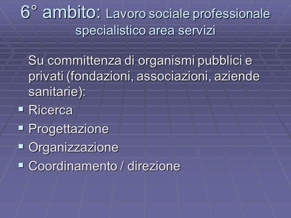 6° ambito: Lavoro sociale professionale specialistico area servizi Su committenza di organismi pubblici e privati (fondazioni, associazioni, aziende sanitarie): Su committenza di organismi pubblici e privati (fondazioni, associazioni, aziende sanitarie):  Ricerca  Progettazione  Organizzazione  Coordinamento / direzione
