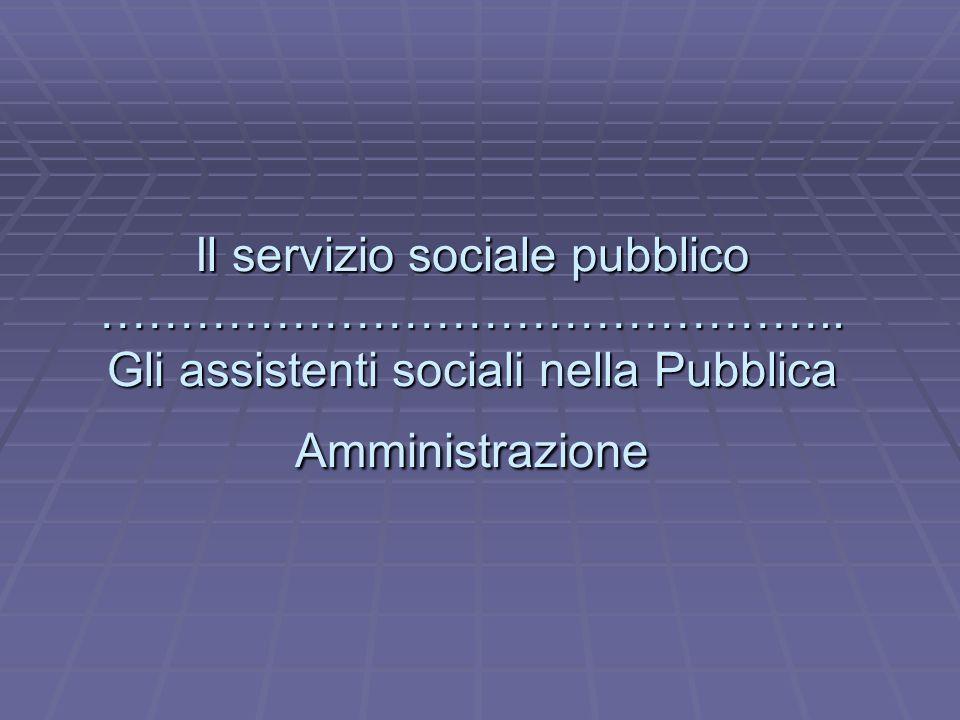 Il servizio sociale pubblico ………………………………………..