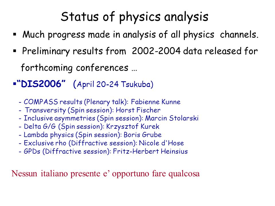 Status of physics analysis  Much progress made in analysis of all physics channels.  Preliminary results from 2002-2004 data released for forthcomin