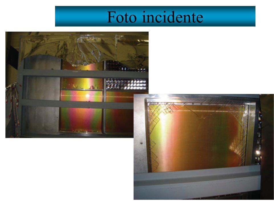 POSSIBILI CAUSE stress meccanico overpressure nella camera  all'interno della camera: P=25 mbar –stima realistica della pressione nella camera danneggiata grazie a misure dedicate (in passato sempre P< 10mbar) –misure cascata di 3 (4 al momento dell'incidente) camere, bubbolatori di sicurezza per misurare la sovrapressione, flusso 60 l/h (90 l/h al momento dell'incidente) ; il resto e' identico